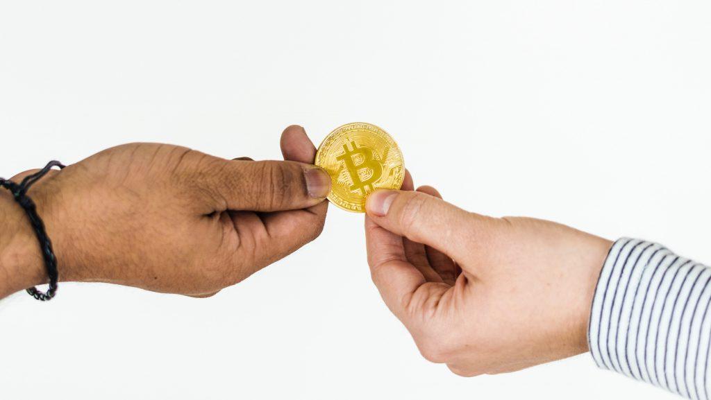 Traden van Bitcoin. Symboliek. FSOM