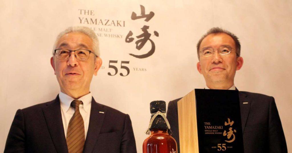 De lancering van The Yamazaki 55 jaar oud. Whisky van 55 jaar oud voor 25.000 euro per fles.